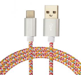 彩色尼龙编织C型usb充电线