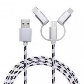 三合一尼龙编织充电线